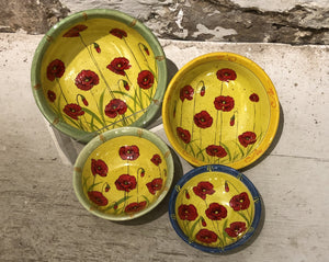 Le Monde - Red Poppy Serving Bowls