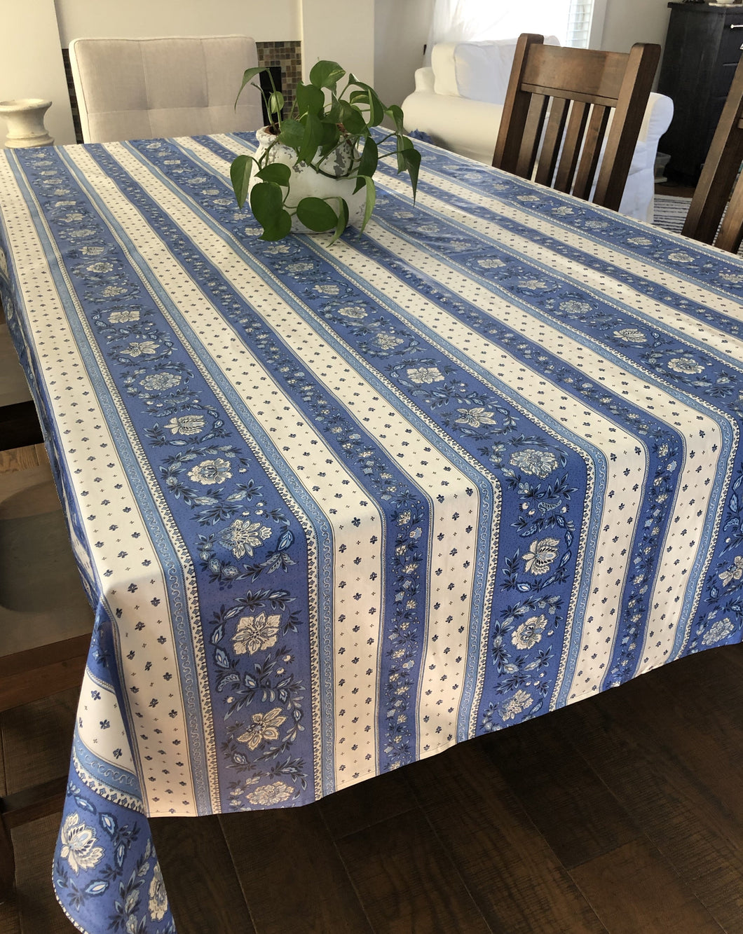 Vence Rectangular Tablecloth - Coated Cotton - Blue/White
