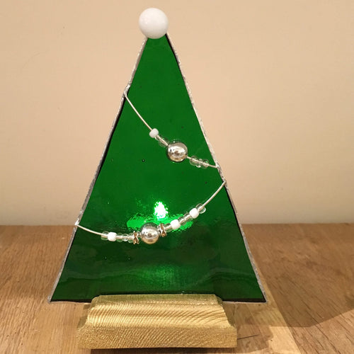 Christmas Tree with Bead Decoration in Tea Light Holder