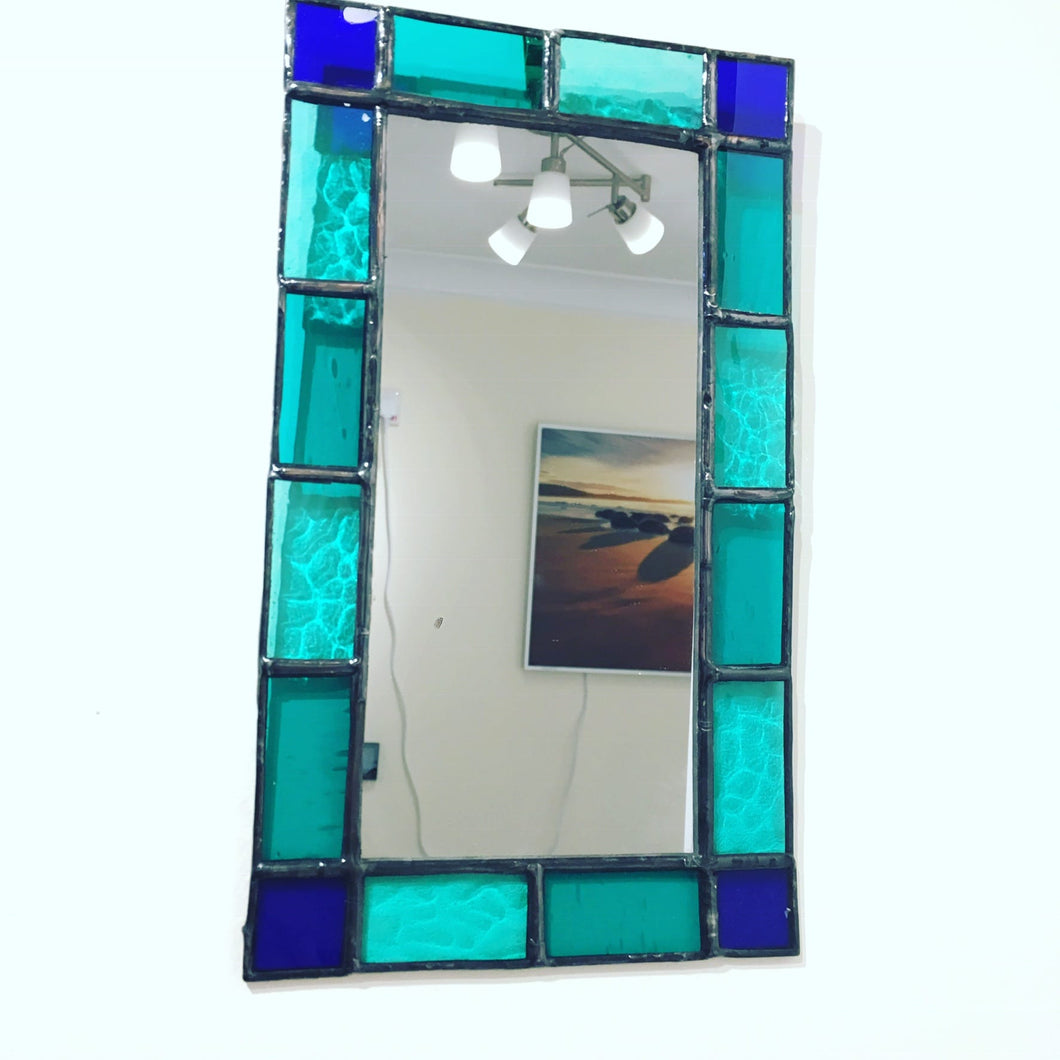 Mirror with stained glass border