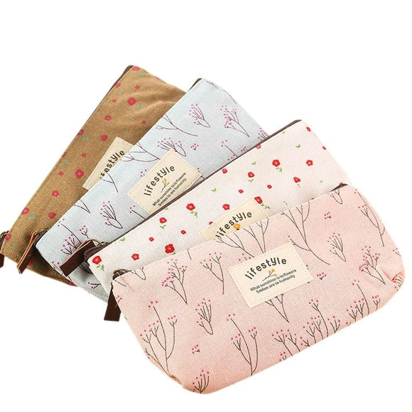 Flower Canvas Zipper Pencil Case