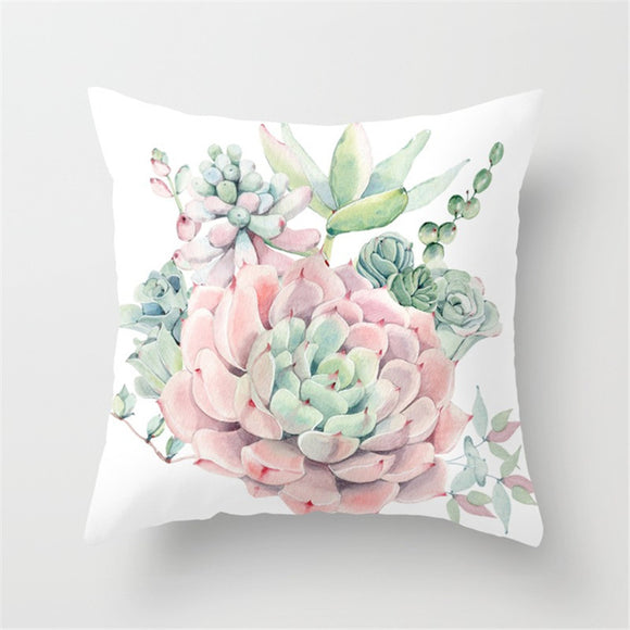 Succulent Plants Printed Cushion Cover