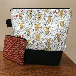 Medium Plus Stag Wedgetote with coordinating Notions Pouch