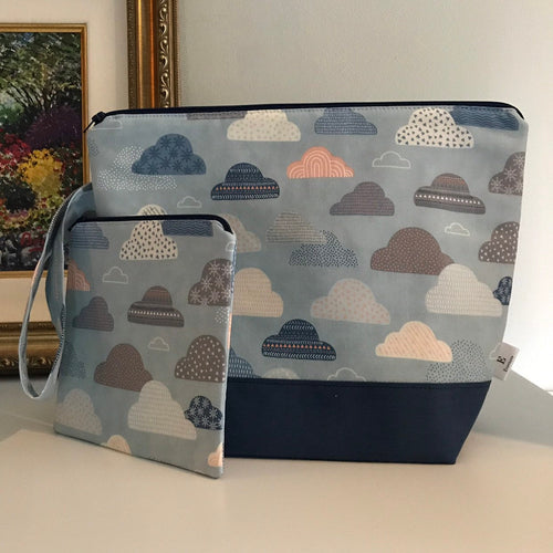 Medium Clouds Wedgetote with matching Notions Pouch