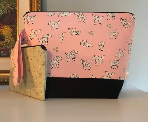 Medium Wee Lamb Wedgetote with coordinating Notions Pouch