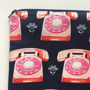 Large Retro Pink Telephone Cross stitch tote with Notions tote