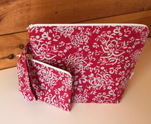 Load image into Gallery viewer, Medium Deep Pink/Grey Batik Wedgetote with coordinating Notions Pouch