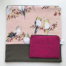 Load image into Gallery viewer, Medium Budgie Cross stitch tote with Notions tote
