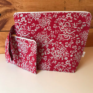 Medium Deep Pink/Grey Batik Wedgetote with coordinating Notions Pouch