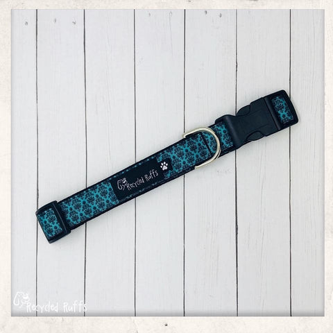 Disney Haunted Mansion Creepy Wallpaper AQUA Dog Collar