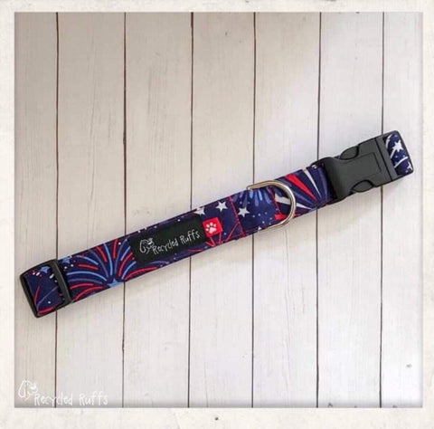 Fourth of July Fireworks Fabric Dog Collar