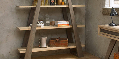 CADELL OPEN DISPLAY UNIT - AGED OAK & WEATHERED OAK
