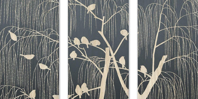 Handcarved wall panel: birds on the tree 45x4x150 cm 3stk