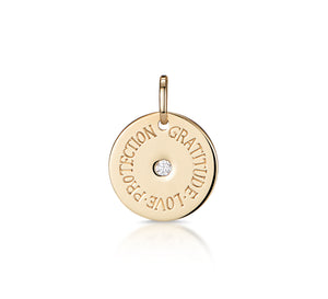 Mantra: Love, Protection, Gratitude - Gold & Diamond Disc
