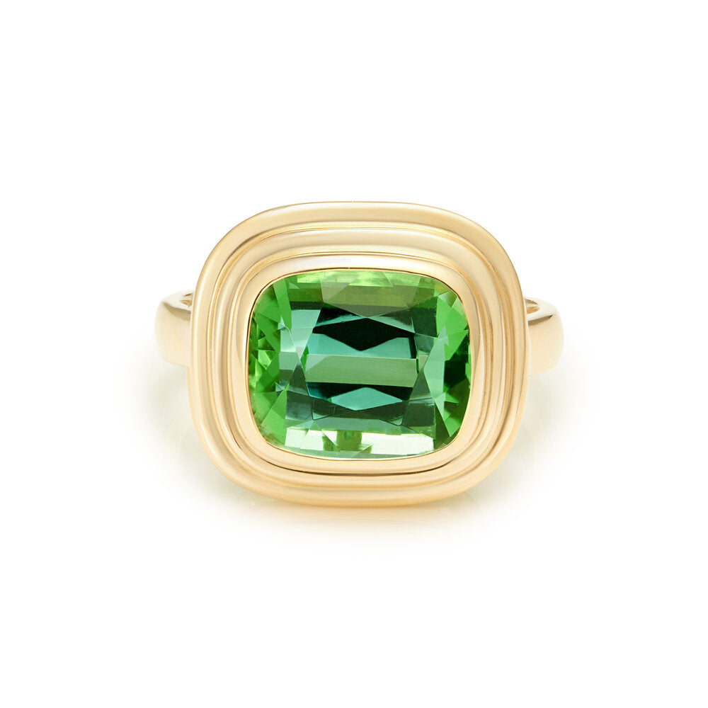 Minka Jewels - 18k yellow gold  5.70ct vivd green tourmaline ring