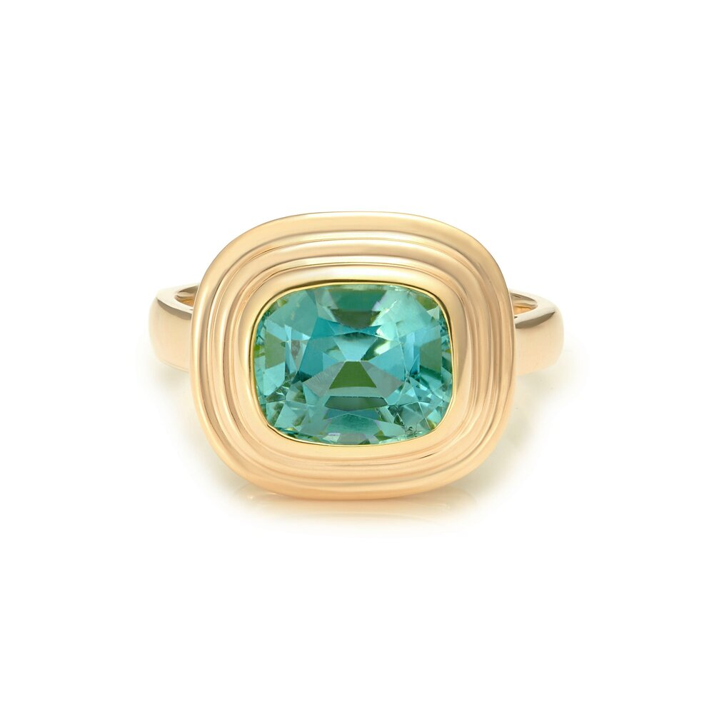 Minka Jewels - One-of-a-kind 2.60ct blue/green tourmaline  18k yellow gold  2.60ct blue cushion cut tourmaline