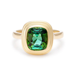 Minka Jewels - One-of-a-kind, 2.25ct tourmaline | Pure 18kt yellow gold | 2.25ct vivid green tourmaline | Cushion cut | Ring size O (USA 7)