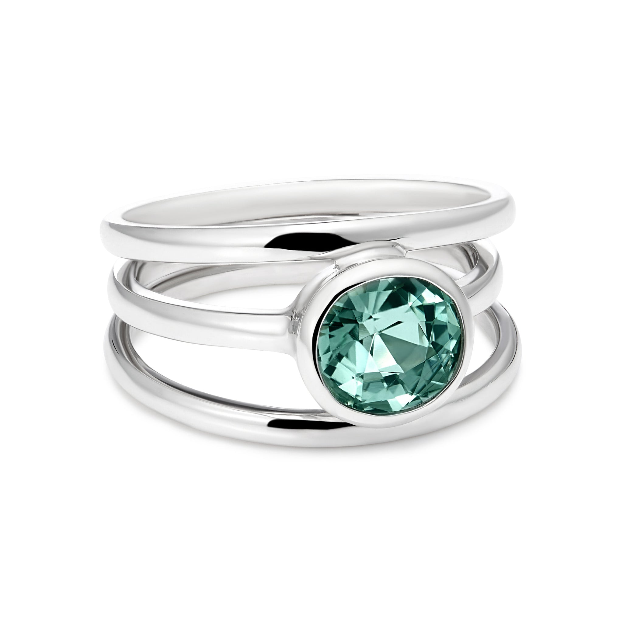 3 Way: Mint Tourmaline Ring Set In 9kt White Gold
