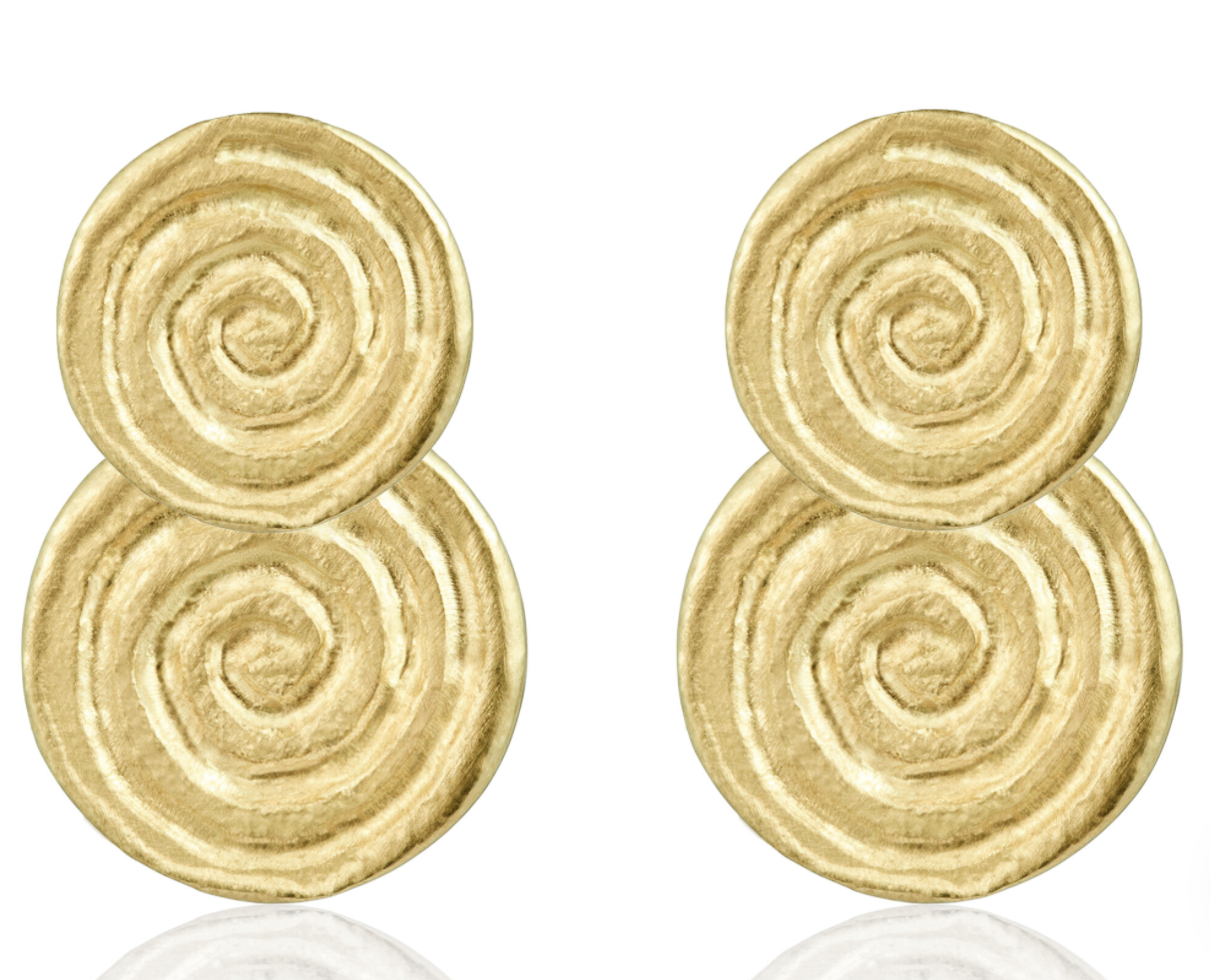 Infinity Spiral: Gold Drop Earrings
