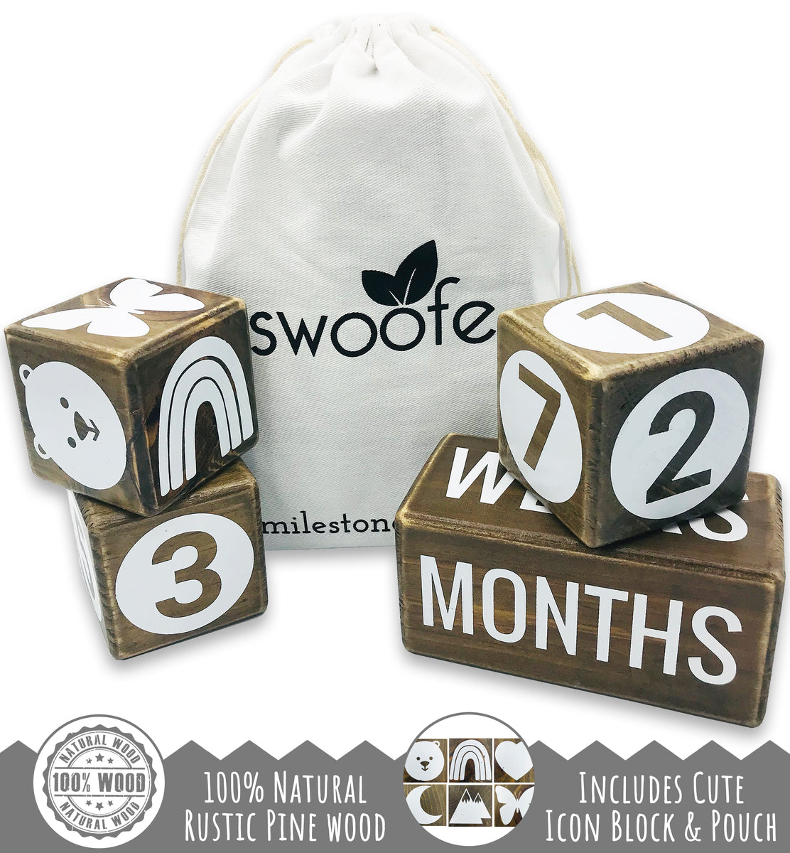 Swoofe Rustic Farmhouse Baby Milestone Blocks - 100% Natural Walnut Pine Wood