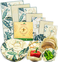 Load image into Gallery viewer, Golden Magnolias 7 Pack of Swoofe Reusable Beeswax Food Wraps