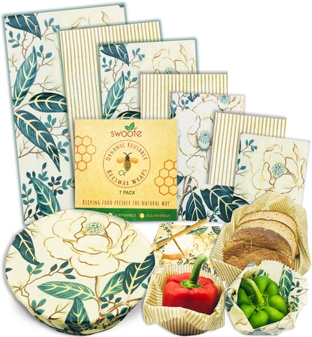 Golden Magnolias 7 Pack of Swoofe Reusable Beeswax Food Wraps
