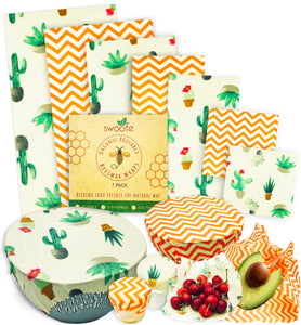 Sassy Succulents 7 Pack of Swoofe Reusable Beeswax Food Wraps
