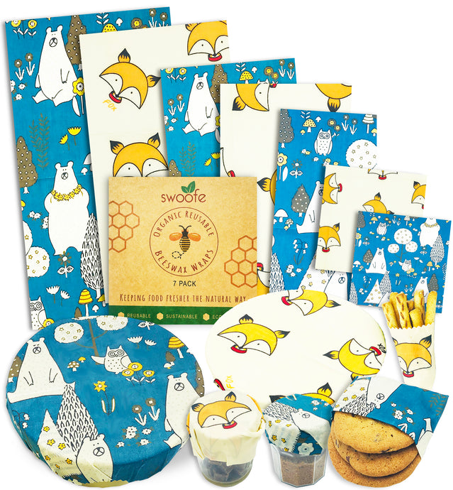 Woodland Creatures 7 Pack of Swoofe Reusable Beeswax Wraps