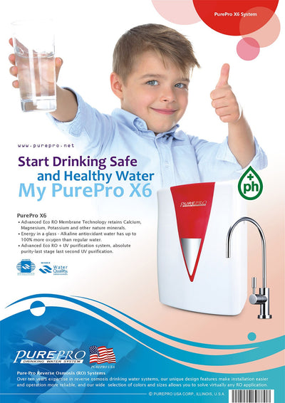 PurePro® USA Reverse Osmosis Water Filter System X6 (Red)