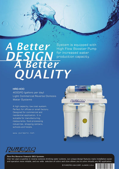 PurePro® USA Light Commercial Reverse Osmosis Water Filtration System HRO-400