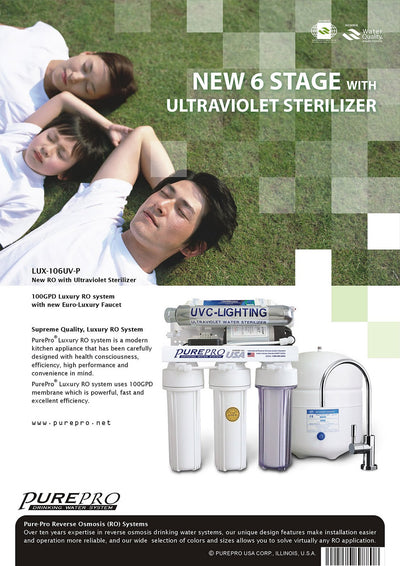 PurePro® USA Reverse Osmosis Water Filter System LUX-106UV-P
