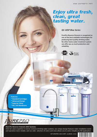 PurePro® USA Reverse Osmosis Water Filter System QC-105P Blue Series