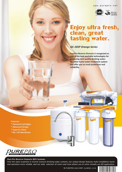 PurePro® USA Reverse Osmosis Water Filter System QC-105P Orange Series