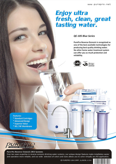 PurePro® USA Reverse Osmosis Water Filter System QC-105 Blue Series