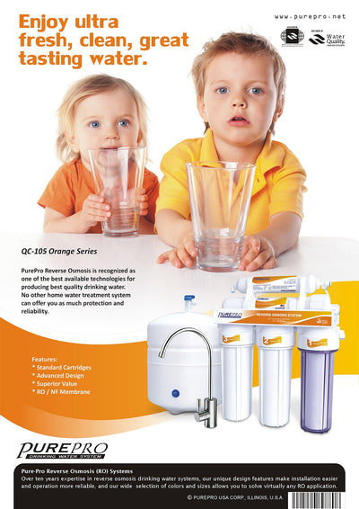 PurePro® USA Reverse Osmosis Water Filter System QC-105 Orange Series