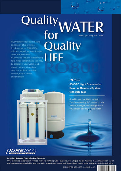 PurePro® USA Light Commercial Reverse Osmosis Water Filtration System RO800