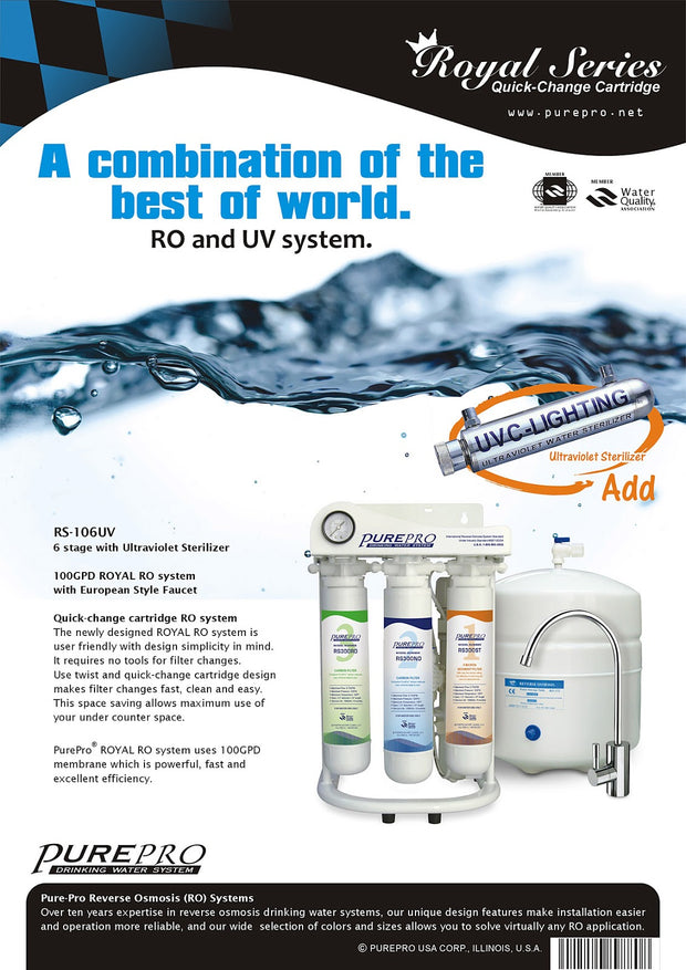 PurePro® USA Reverse Osmosis Water Filtration System RS-106UV