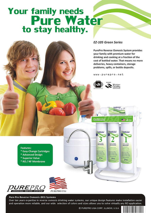 PurePro® USA Reverse Osmosis Water Filter System EZ-105P Green Series