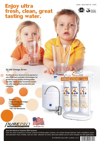 PurePro® USA Reverse Osmosis Water Filter System EZ-105 Orange Series