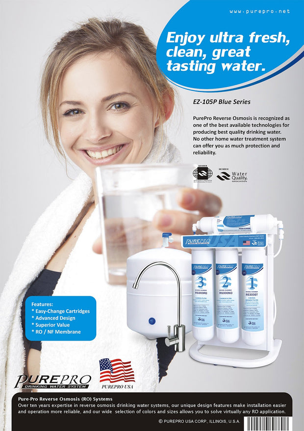 PurePro® USA Reverse Osmosis Water Filter System EZ-105P Blue Series