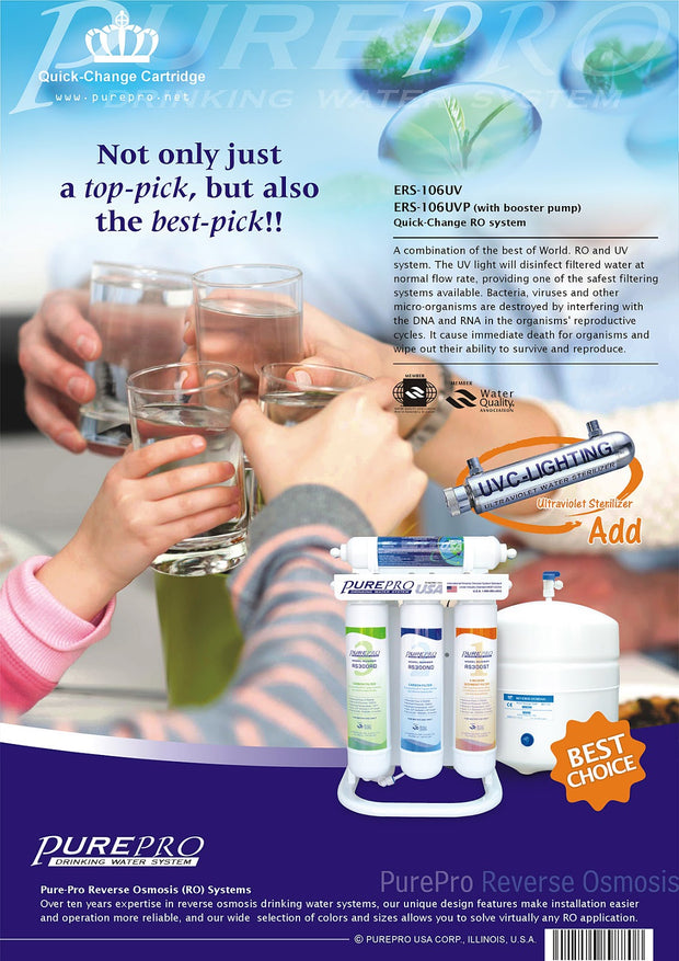 PurePro® USA Quick-Change Reverse Osmosis Water Filter System ERS-106UVP