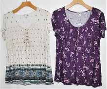 Load image into Gallery viewer, SS Lace-up Print Top $4.00/pc   Price per 12pc pack