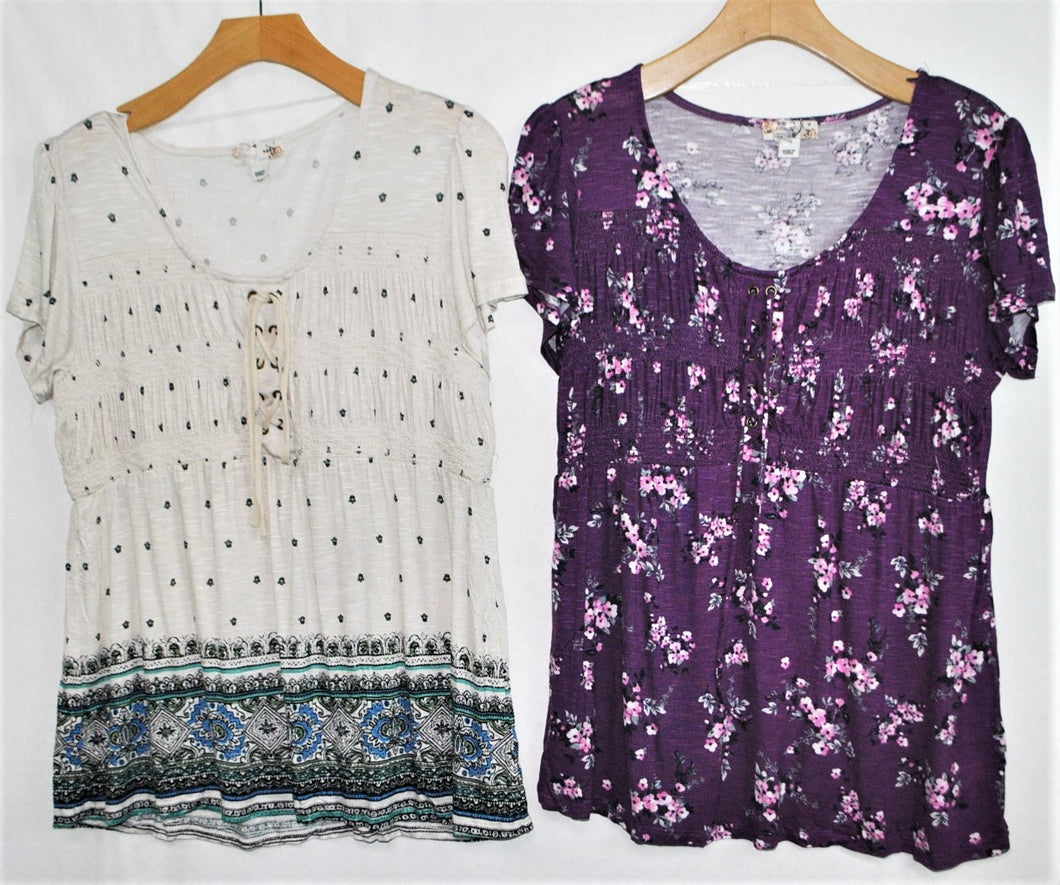 SS Lace-up Print Top $4.00/pc   Price per 12pc pack