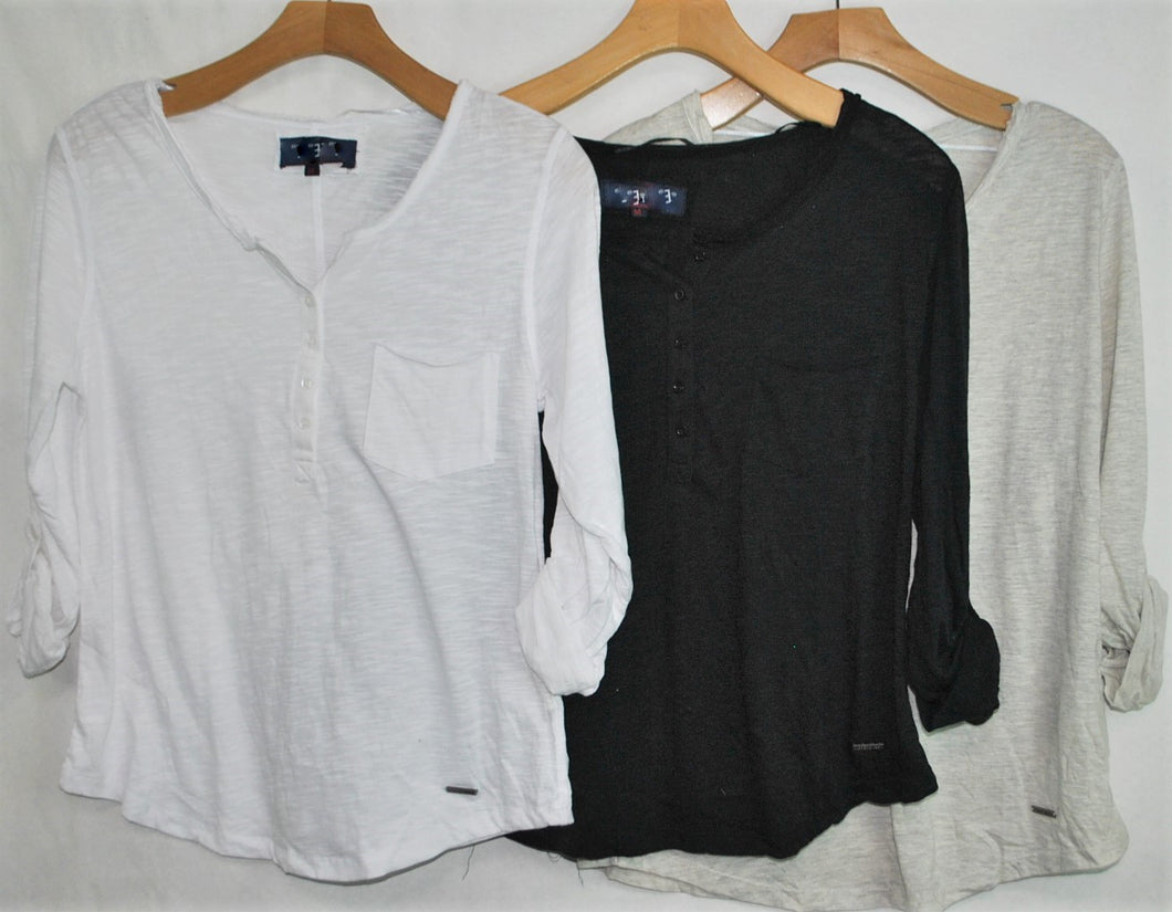 3/4 Sleeve Knit Slub Henley $4.00/pc   Price per 12pc pack