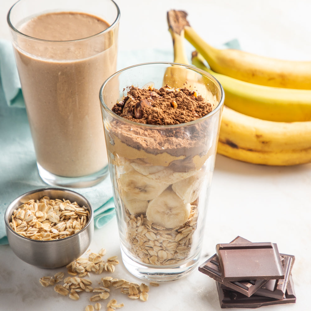 Chocolate Protein Smoothie with bananas, steel cut oats and peanut butter. Milk not provided.