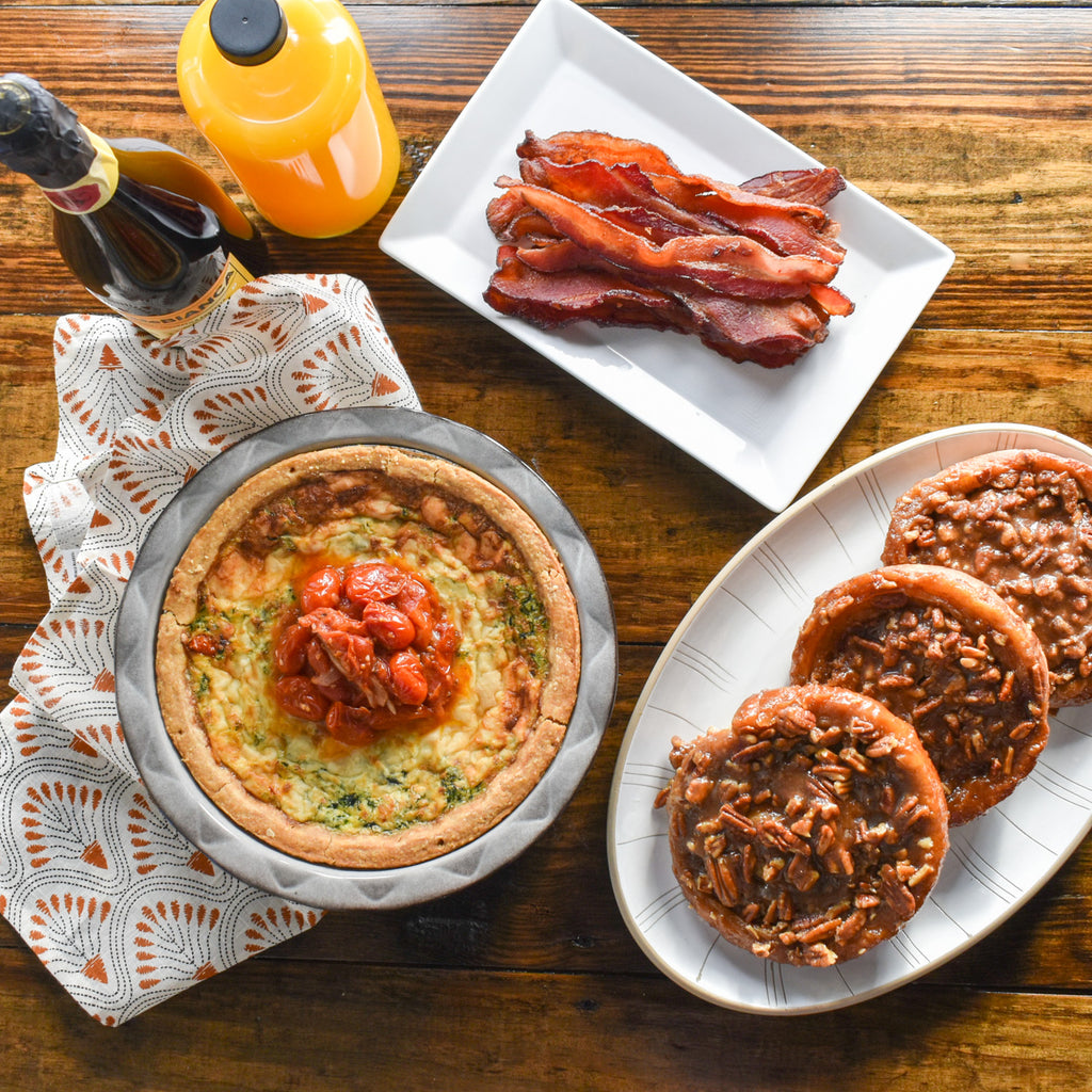 Brunch Package with Quiche, Bacon, and Sticky Buns
