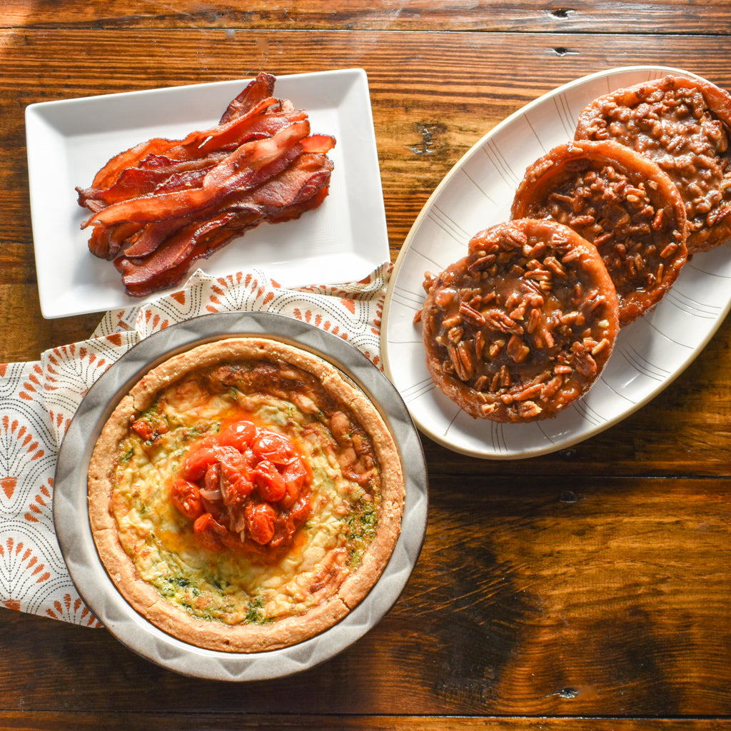 Brunch with quiche, sticky buns and optional bacon