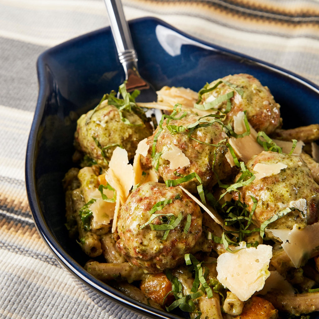 Chicken Meatballs & Whole Wheat Penne with Creamy Pesto Sauce