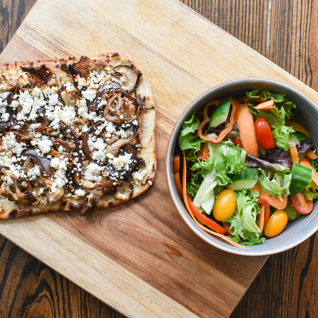 Build your own Woodfired Artisan Flatbread accompanied by a Salerno Salad