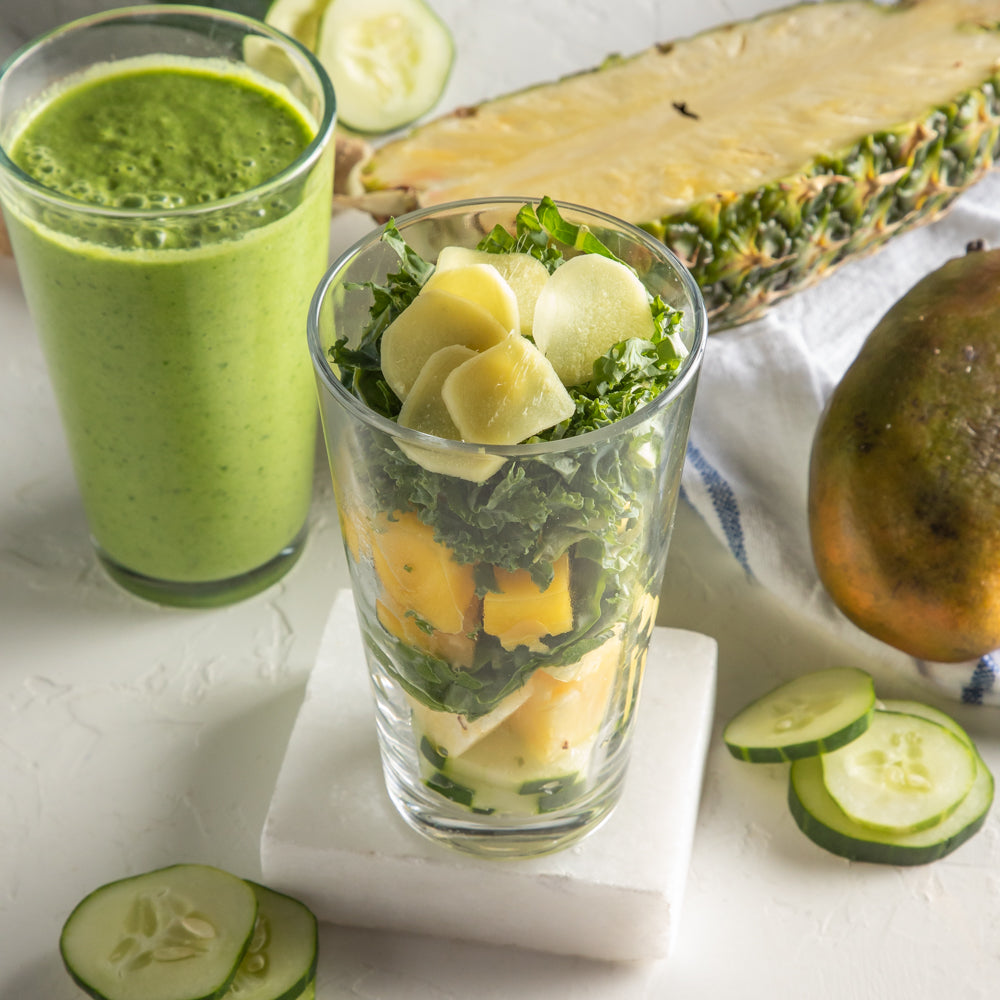 Green Machine Smoothie with spinach, kale, green apple, pineapple, cucumber and ginger.